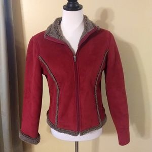 L.L. Bean faux suede shearling jacket XS petite